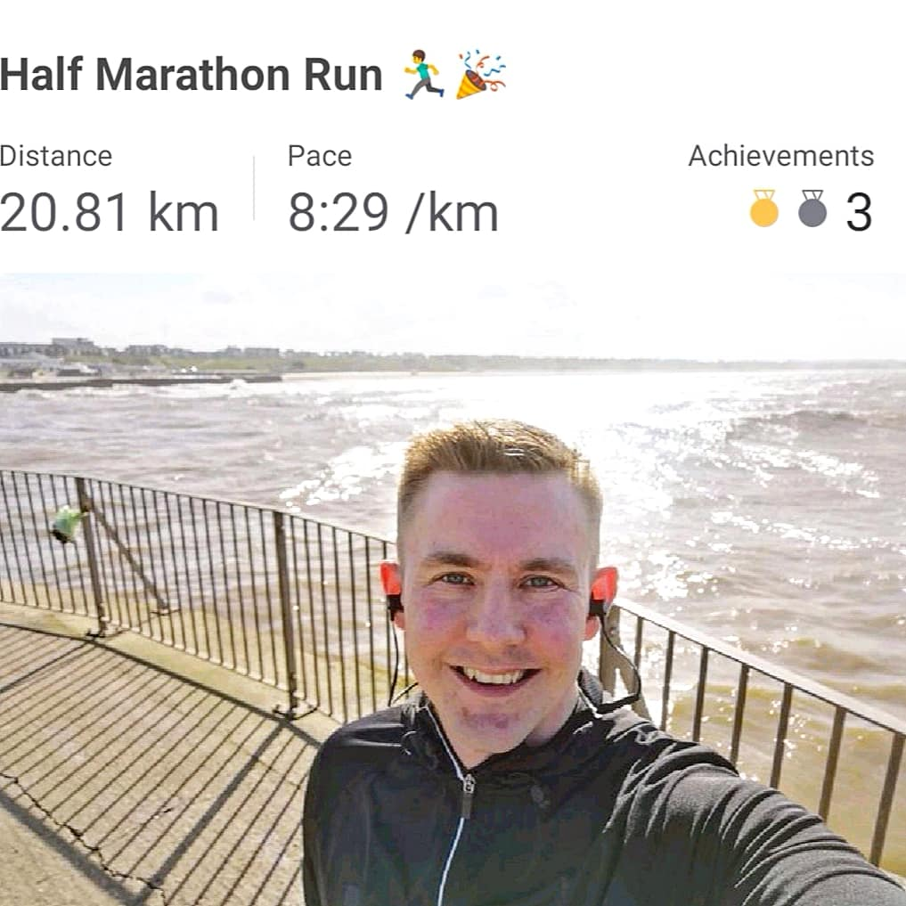 Ryan out on his half marathon run with the distance and time recorded on the picture.