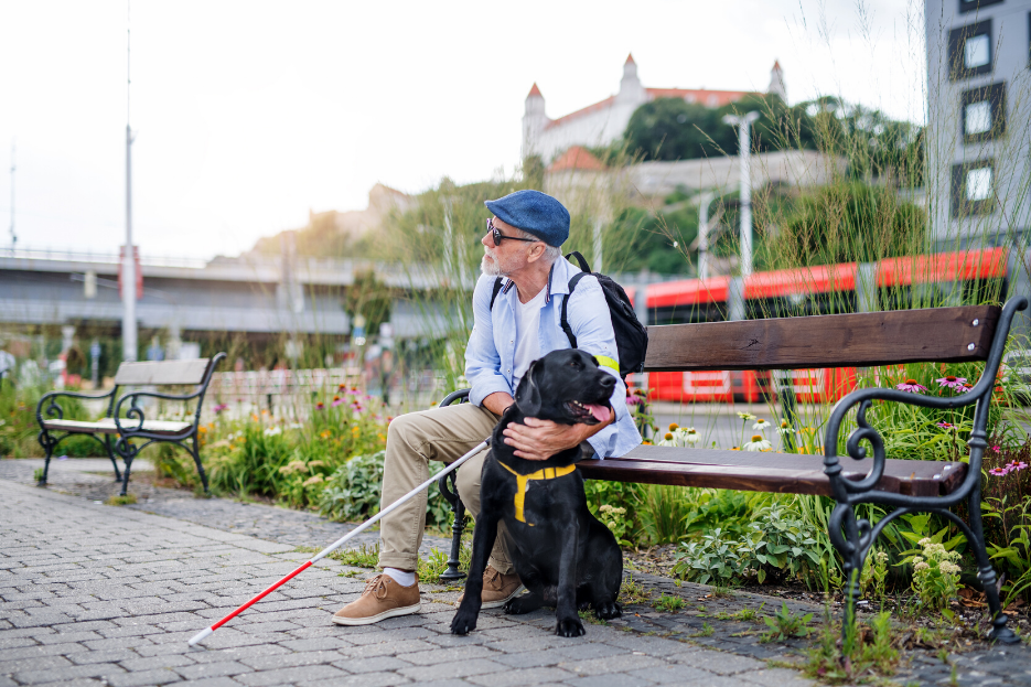 A man sitting on a bench holding a white stick, next to his black guide dog.